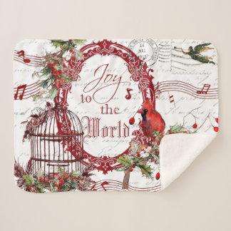 Joy to the world sherpa blanket