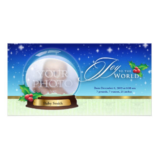 Joy to the World Snow Globe Birth Annoucement Grn Card