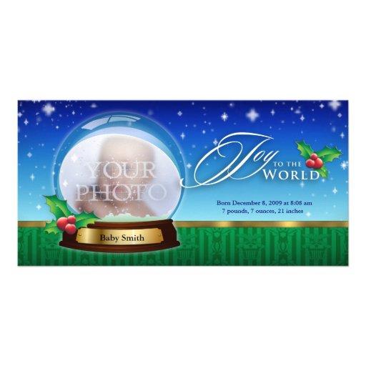 Joy to the World Snow Globe Birth Annoucement Photo Card