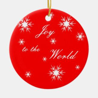 Joy to the World Snowflakes Ceramic Ornament
