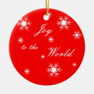 Joy to the World Snowflakes Double-Sided Ceramic Round Christmas Ornament