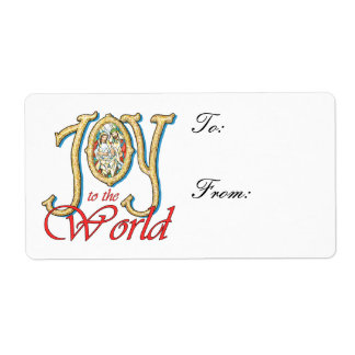 Joy to the World Stained Glass Nativity Gift Tags Custom Shipping Labels