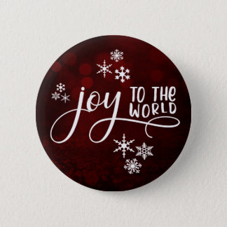 Joy to the World Typography and Snowflakes Button