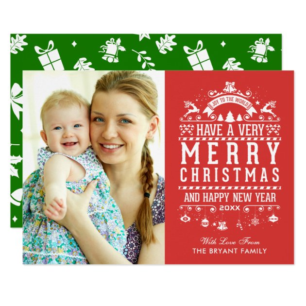 Joy To The World Typography Merry Christmas Photo Card (front side)