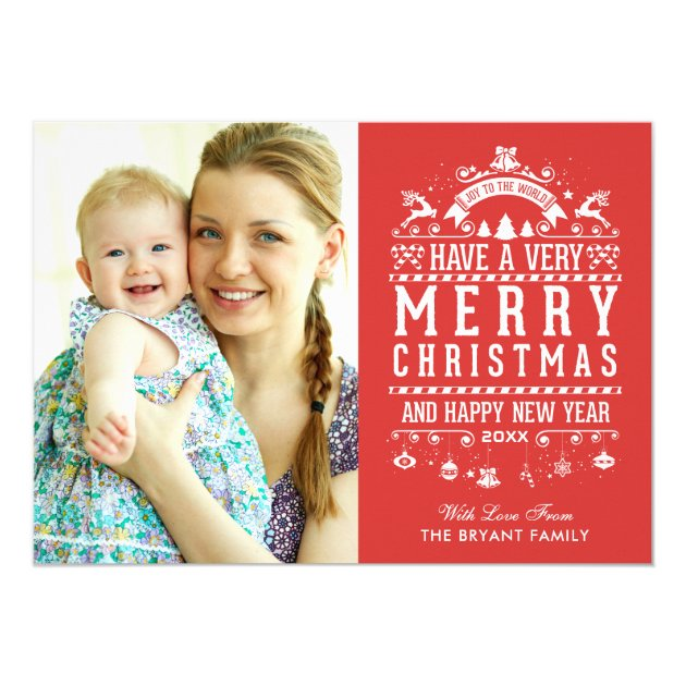 Joy To The World Typography Merry Christmas Photo Card (back side)