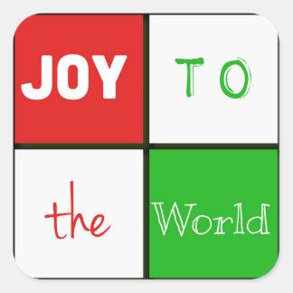 Joy To The World Typography Tiles Christmas Square Sticker