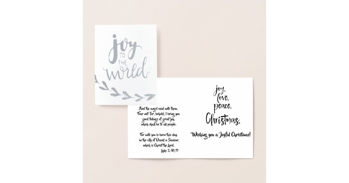 Joy to the World with Bible Verses Christmas Foil Card | Zazzle.com