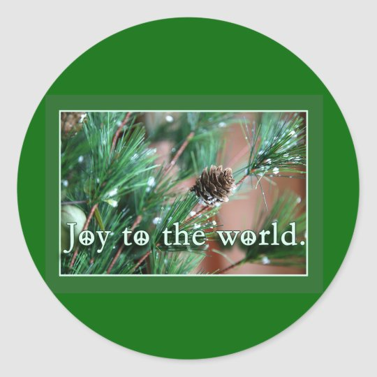 Joy to the World with Peace Signs Holiday Cards Classic Round Sticker