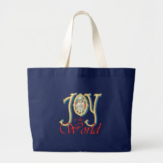 Joy to the World with Stained Glass Nativity Tote Bag