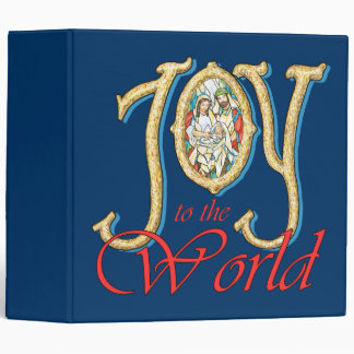 Joy to the World with Stained Glass Nativity 3 Ring Binders