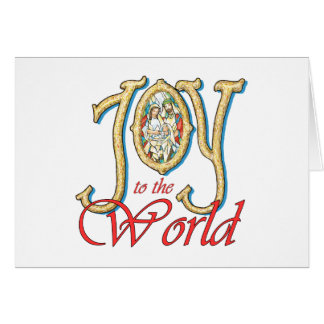 Joy to the World with Stained Glass Nativity Greeting Card