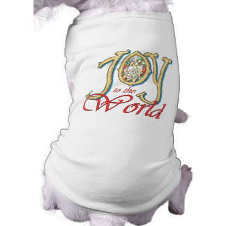 Joy to the World with Stained Glass Nativity Dog Tee Shirt