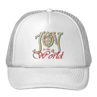 Joy to the World with Stained Glass Nativity Mesh Hat
