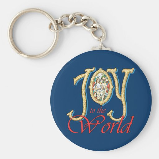 Joy to the World with Stained Glass Nativity Basic Round Button Keychain
