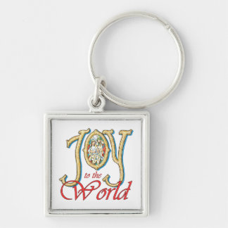 Joy to the World with Stained Glass Nativity Keychain