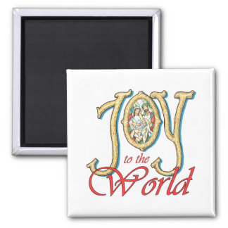 Joy to the World with Stained Glass Nativity Fridge Magnet