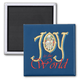 Joy to the World with Stained Glass Nativity Refrigerator Magnet
