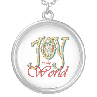 Joy to the World with Stained Glass Nativity Personalized Necklace