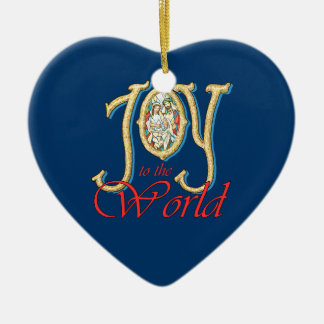 Joy to the World with Stained Glass Nativity Ornament