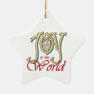 Joy to the World with Stained Glass Nativity Christmas Ornaments