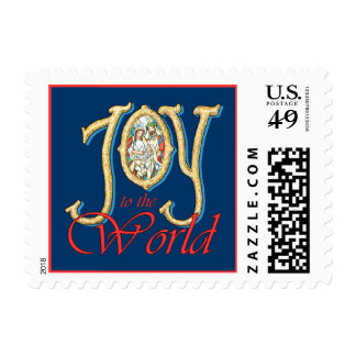 Joy to the World with Stained Glass Nativity Postage Stamps