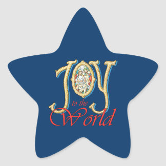 Joy to the World with Stained Glass Nativity Star Sticker