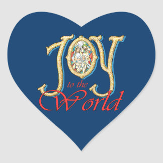 Joy to the World with Stained Glass Nativity Heart Stickers