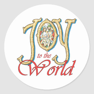 Joy to the World with Stained Glass Nativity Round Sticker