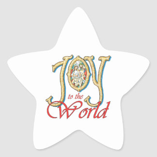 Joy to the World with Stained Glass Nativity Sticker