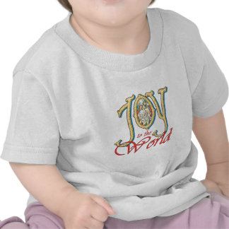 Joy to the World with Stained Glass Nativity T-shirts