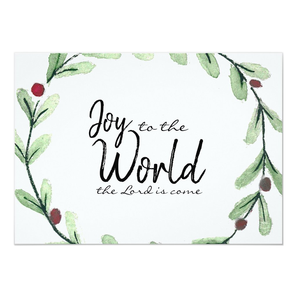 Joy To The World Wreath Photo Christmas Card