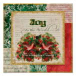 Joy to World Vintage Christmas Carol Sheet Music Poster