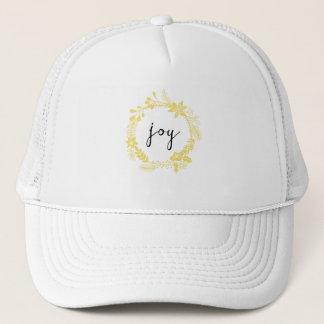 Joy | trendy laurel wreath | yellow trucker hat