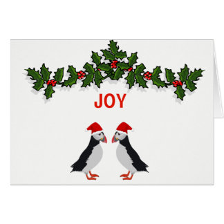 Joy twin puffins Christmas card