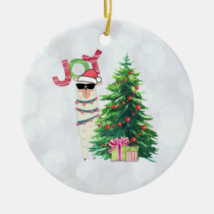 joy typography christmas llama with tree ceramic ornament