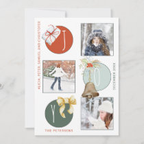 JOY Typography Modern Christmas 4 Photo Collage Holiday Card