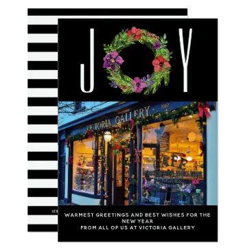 Professional Business Joy Watercolor Flowers & Stripes Photo Card