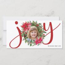 JOY Watercolor Poinsettia Christmas Wreath Photo Holiday Card