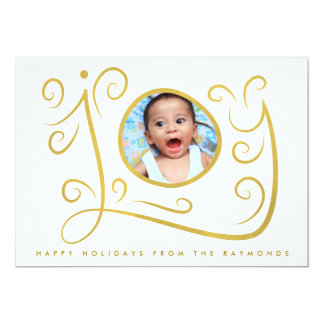 Joy Watercolor Swirls Gold Frame Christmas Card