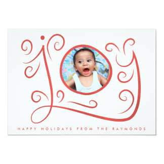 Joy Watercolor Swirls Red Frame Christmas Card