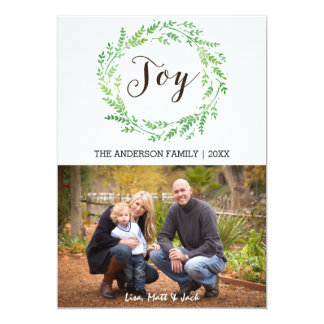 Joy watercolor wreath Christmas Card