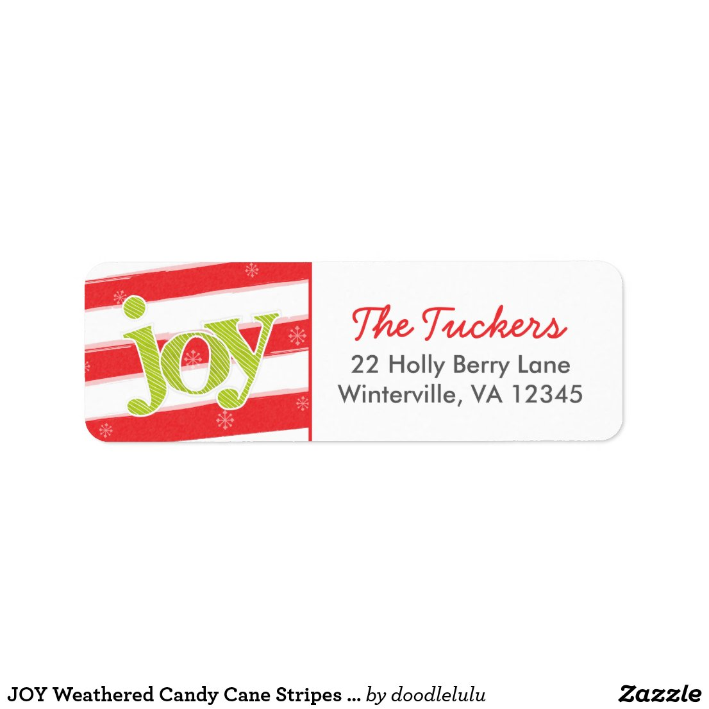 JOY Weathered Candy Cane Stripes Christmas Label