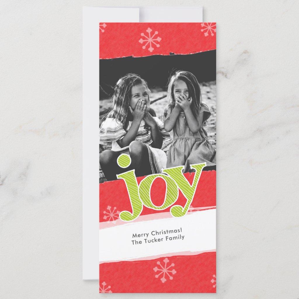 JOY Weathered Candy Cane Stripes Christmas Photo Holiday Card