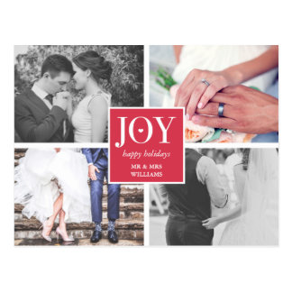 Joy | Wedding Photo Collage | Happy Holidays Postcard