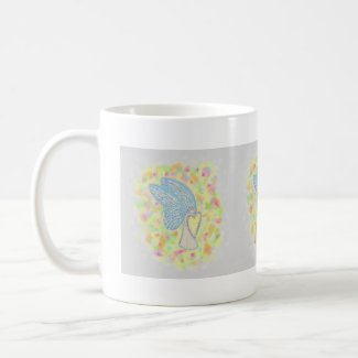Joy White Guardian Angel Art Coffee Mugs or Cups