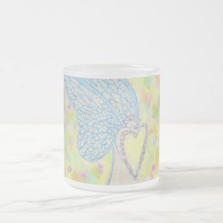 Joy White Guardian Angel Art Frosted Glass Frosted Glass Coffee Mug