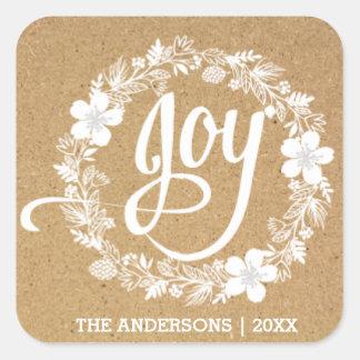 Joy white wreath Christmas Stickers