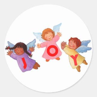 Joy  with Angels Classic Round Sticker