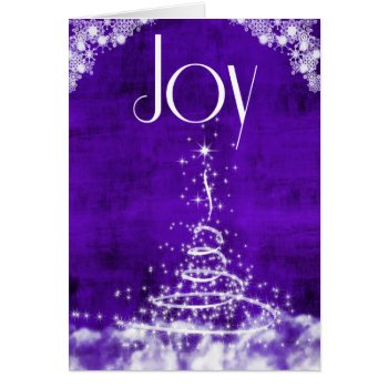 Joy with Contemporary Christmas Tree in Purple Card