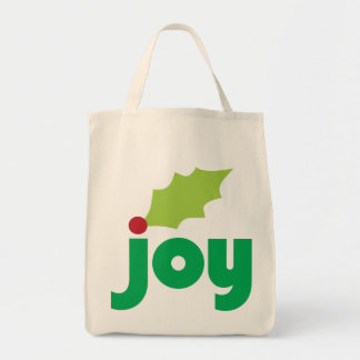 Joy with Holly Leaf and Berry Grocery Tote Tote Bags